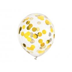 Balony transparentne ze złotym konfetti 12cali 30cm 6szt