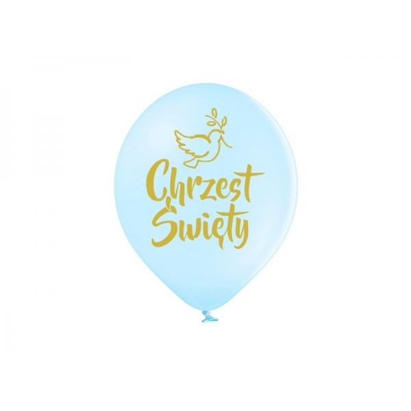 Balony pastelowe Chrzest Święty błękitne 12cali 30cm 5szt