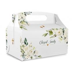 Pudełka na ciasto Kwiaty ze stópkami na Chrzest Święty 10szt