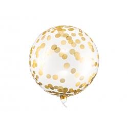 Balon Kula w złote kropki transparentny 40cm