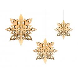 Zawieszki dekoracyjne Śnieżynki złote 15-25cm