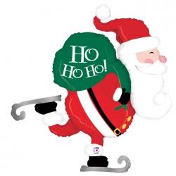 Balon foliowy Mikołaj na łyżwach czerwony 45cali 114cm