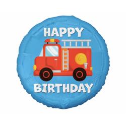Balon foliowy Happy Birthday Straż Pożarna 18cali