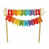 Topper na tort Happy Birthday kolorowe flagi 19,5cm
