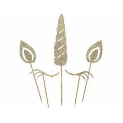 Topper na tort Jednorożec złoty brokatowy 5szt