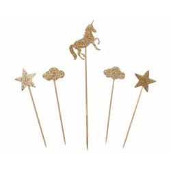 Piki dekoracyjne złote brokatowe Jednorożec 5 elementów