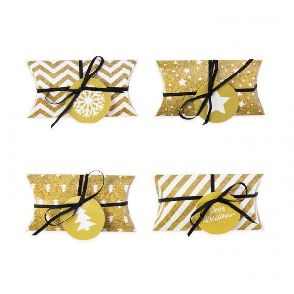 Pudełka na prezenty świąteczne złote DIY 4szt