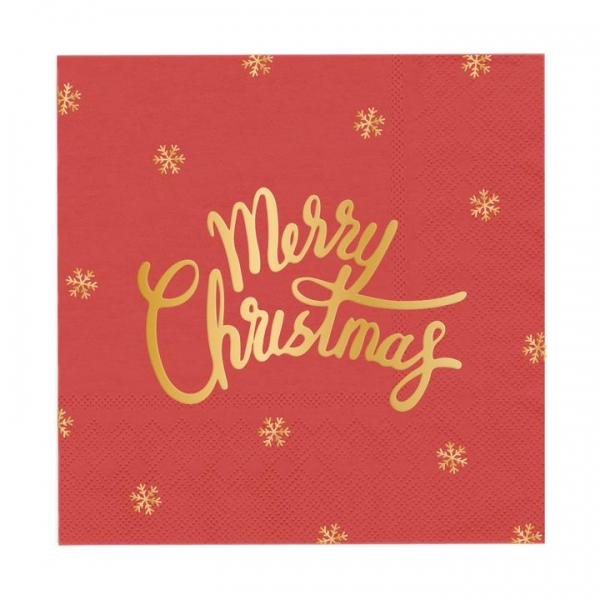 Serwetki papierowe Merry Christmas czerwone 33x33cm 10szt