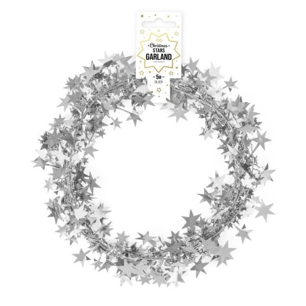 Łańcuch z gwiazdkami srebrny 5m