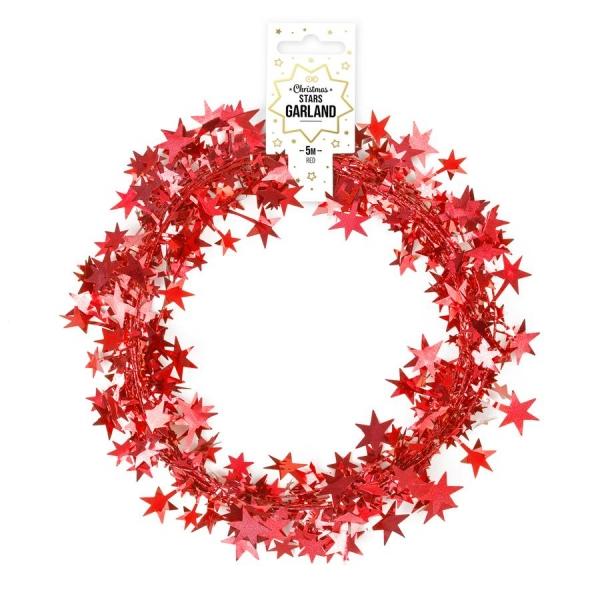 Łańcuch z gwiazdkami czerwony 5m