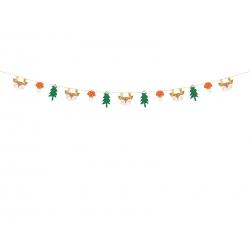 Girlanda papierowa Leśne zwierzęta mix kolorów 170cm